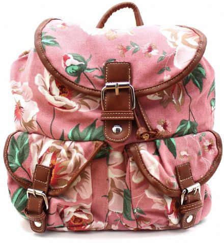 Printed Rucksack with Leather Trim
